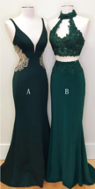 Teal Green Mermaid Evening Party Long Prom Dresses Chiffon Party Dresses - $173.00