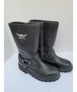 Harley Davidson Stratus 95143 8.5 M Black Harness Zip Biker Boots Motorcycle  - $99.99