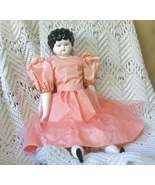 "Vintage China Head Doll, Black Molded Hair, Blue Eyes, Lowbrow, 20"", 1940's - $38.00"