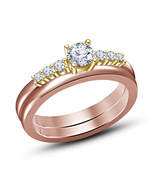 18k Two-Tone Rose Gold White Sim Diamond Bridal Engagement Wedding Ring ... - $75.48