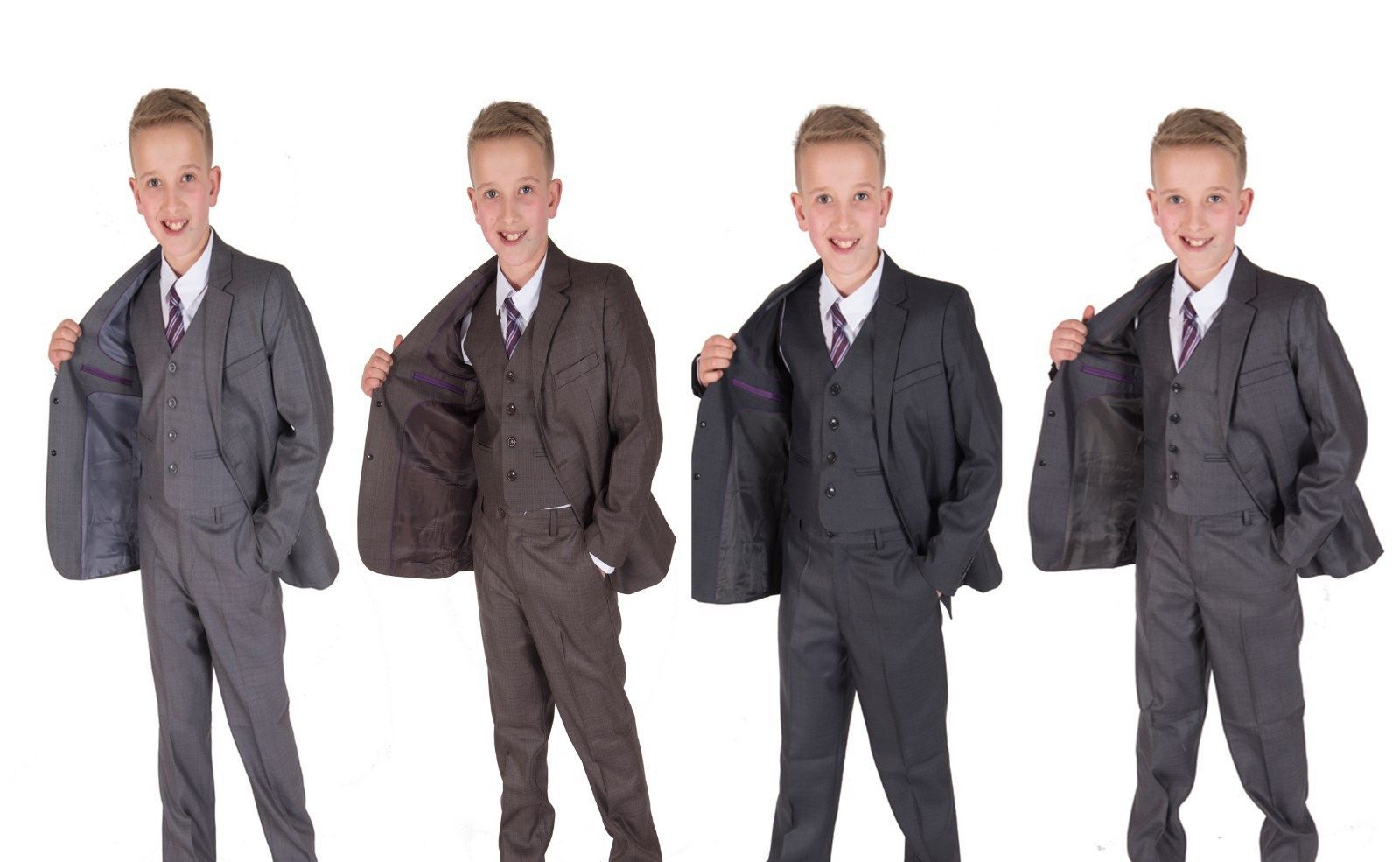 Cinda Boys Formal Grey Suits Wedding PageBoy Party Prom 5 Piece Suit 2-12 Years