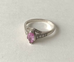 Vintage AVON Marquise Pink Sapphire Sterling Silver 925 Ring Size 9.25 1... - $19.79