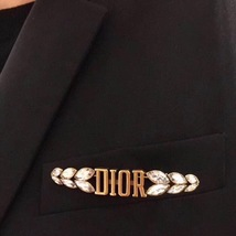 AUTHENTIC Christian Dior 2019 DIO(R)EVOLUTION CRYSTAL LOGO AGED GOLD BROOCH PIN image 2