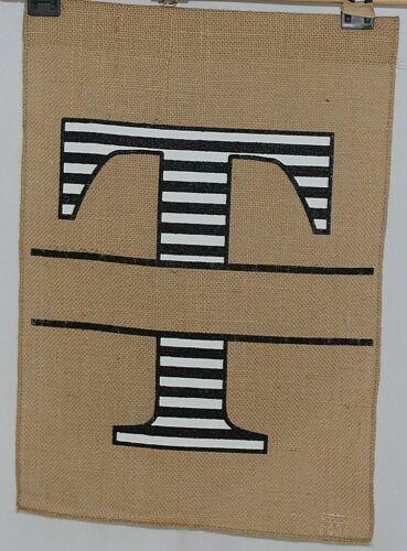 Kate Winston Brand Brown Burlap Monogram Black White T Garden Flag