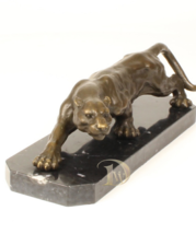 Antique Home Decor Bronze Sculpture shows a Panther, signed * Free Air S... - $399.00