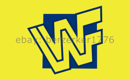 WWF World Wrestling Federation 3'x5' Yellow flag banner 4 - WCW, WWF, WWE 1994 - $25.00