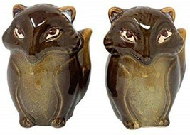 Foxes Salt and Pepper Shakers Dark Brown Ceramic Natures Home - $18.80