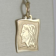Yellow gold medal pendant 375 9k, face christ, parchment, wavy, Italy image 1