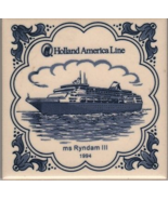 HOLLAND AMERICA Cruise Line Blue Delft Drink Coaster Tile SS Ryndam II 1... - $9.99