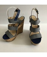 Jessica Simpson Abelle Chambray Denim Espadrille Platform Cork Wedge Wom... - $31.68