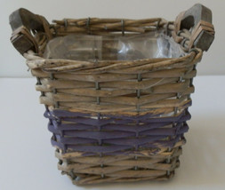 BASKET PURPLE & TAN  5 inch Planter JACKSON & PERKINS LINED PLANTER - $7.99