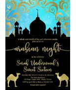 Arabian nights birthday invite teal and gold thumbtall