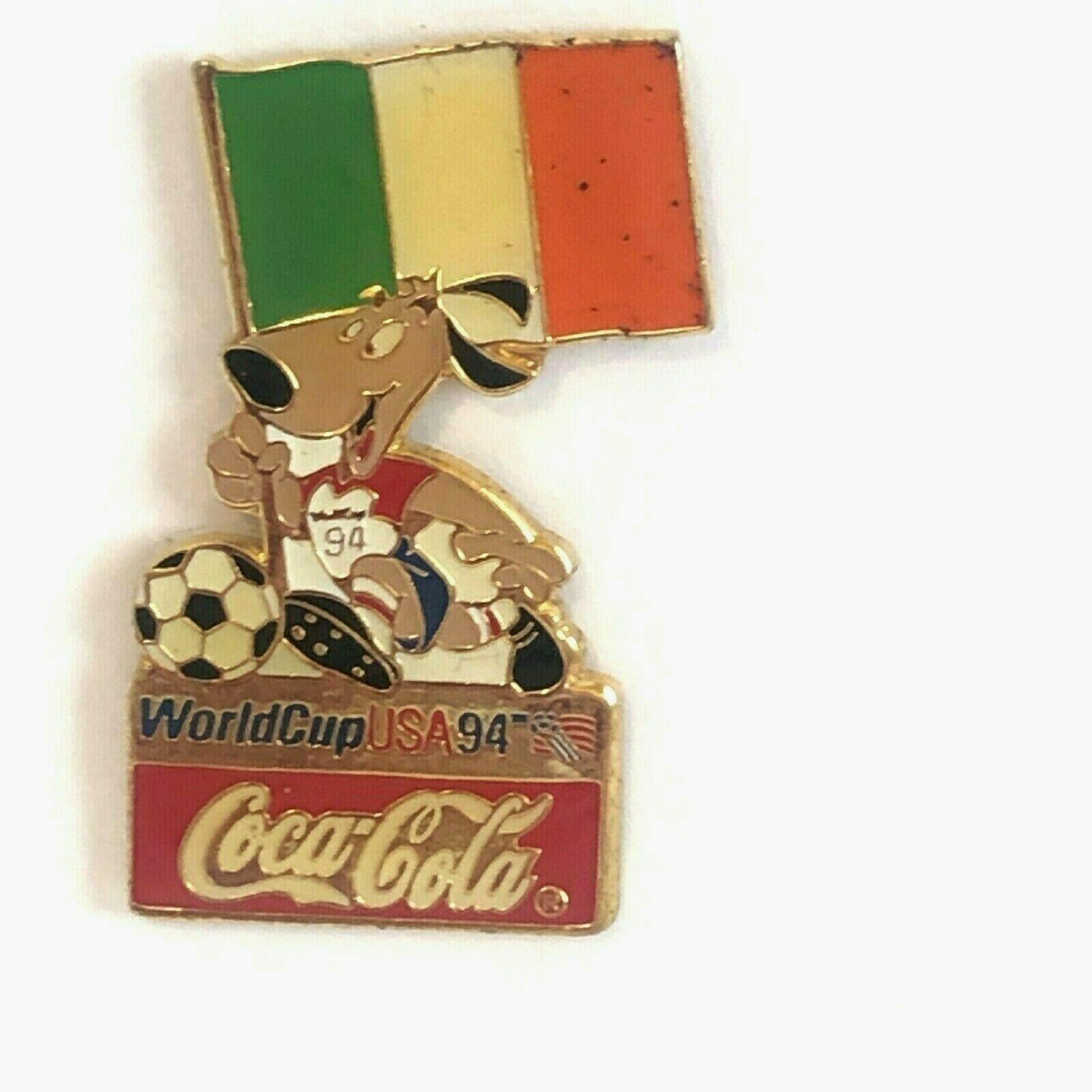 Coca Cola Ireland World Cup 1994 Lapel Pin Flag Striker the Dog Soccer Ball - $13.99