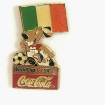 Coca Cola Ireland World Cup 1994 Lapel Pin Flag Striker the Dog Soccer Ball - $13.99