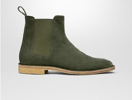 Handmade Men's Green Suede High Ankle Chelsea Boot image 4