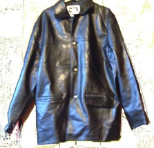 Black 100 Genuine Leather Jacket by Collezione RDG Milano Size Large - $61.75