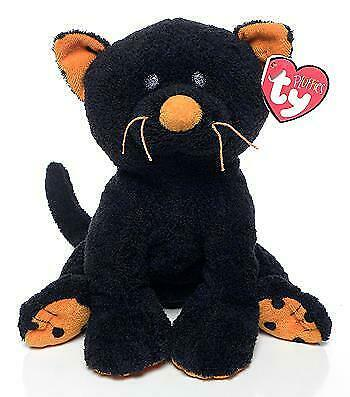 Trickery the Black Cat with Orange Paws Ty Pluffies MWMT Plush Baby Halloween