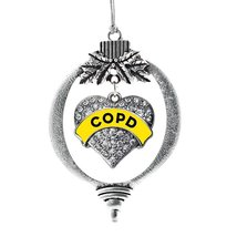 Inspired Silver COPD Awareness Pave Heart Holiday Decoration Christmas Tree Orna - €12,80 EUR