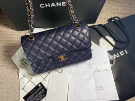 AUTH BNW CHANEL 2019 NAVY CAVIAR QUILTED SMALL DOUBLE FLAP BAG GHW RECEIPT image 2