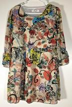 Women's Dress Size XL Top Beige Orange Blue Green Floral Lightweight Fes... - $12.86