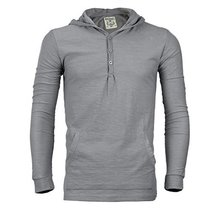 Royal Knights Men's Lightweight Slim Fit Pullover Henley Shirt Hoodie (Large, 05