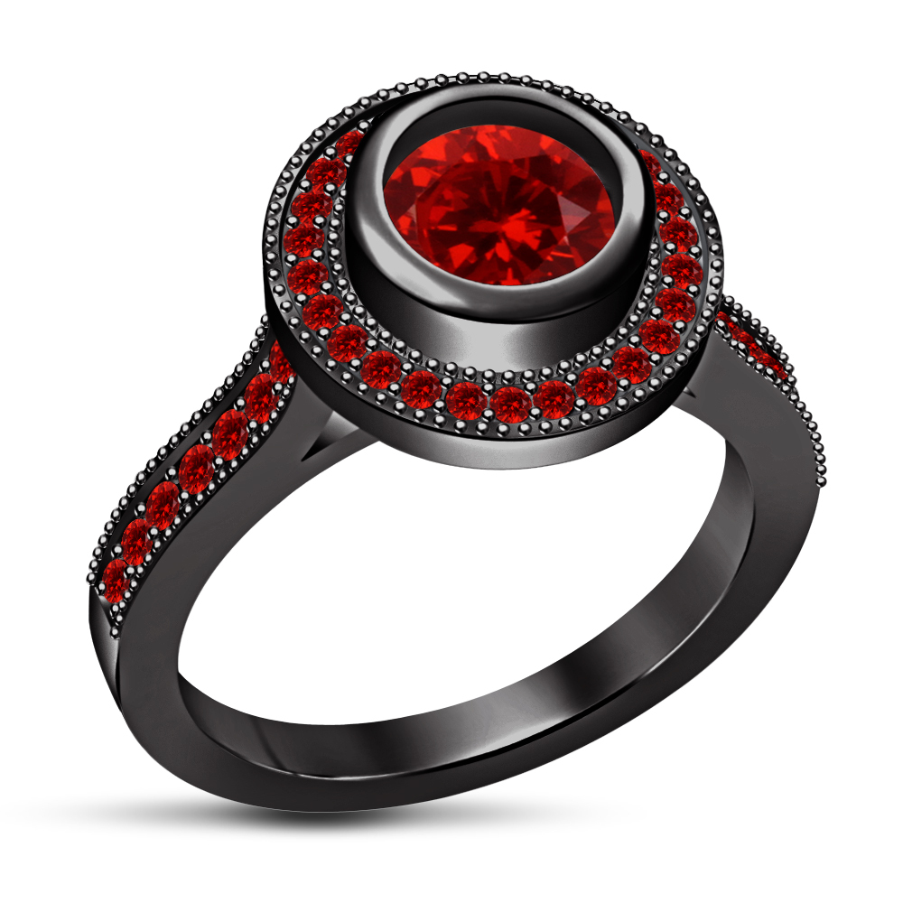 Brilliant Red Garnet 925 Silver Black Rhodium Finish Solitaire With Accents Ring