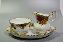 Royal Albert Old Country Roses Small Creamer Open Sugar Bowl & Sandwich ... - $48.19