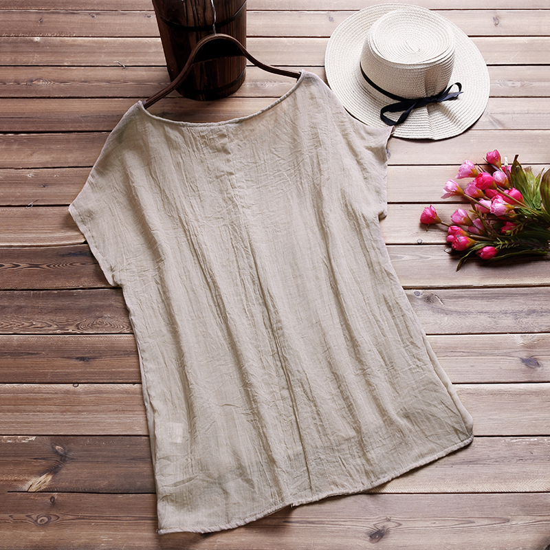 2018 ZANZEA Casual Women Blusas Summer Blouse Cotton Linen Loose O Neck Short Ba