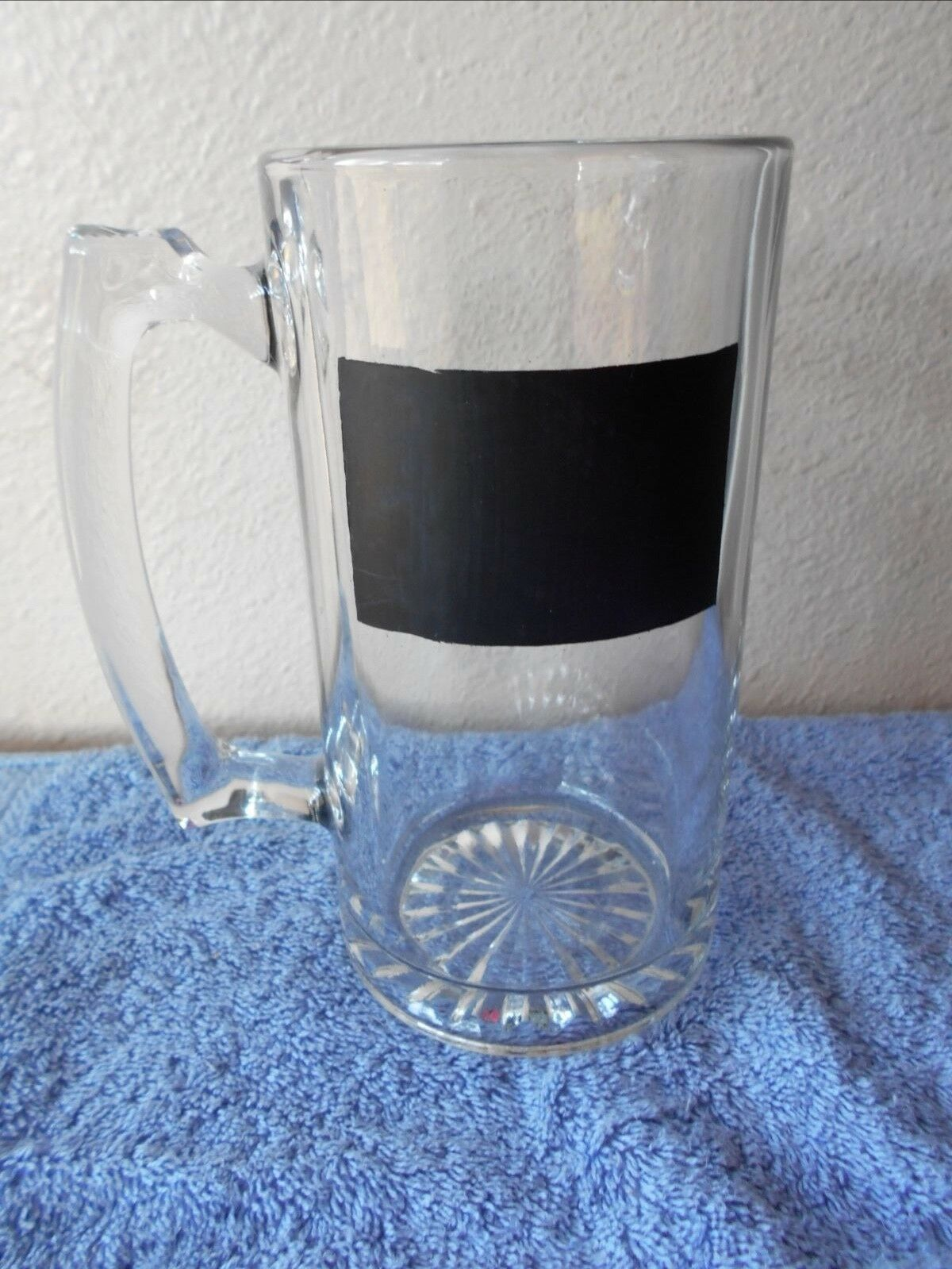 "Primary image for Large Glass Stein Mug With Chalkboard  7"" Tall 3.5"" Diam"