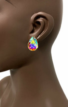 "1.1/8"" Drop Classy Teardrop Clip On Earrings Aurora Borealis Glass Crystals  - $12.83"