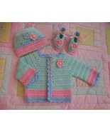sugar and spice baby sweater set, baby girl outfit, pink baby sweater ha... - $65.00