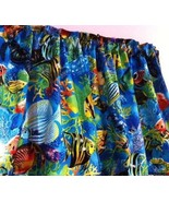"Valance Topper Tropical Blue Sea Ocean Fish 43""W x 15""L Cotton  Fabric - $8.70"
