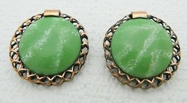 VTG RARE MATISSE Renoir Copper Green Enamel Wreath Clip Earrings - $49.50