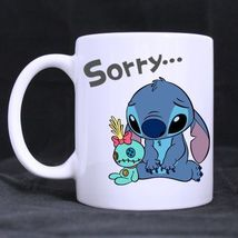 Lilo And Stitch Sorry Cartoon Custom Personalized Coffee Tea White Mug - $13.99