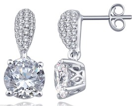 Awesome Solitaire Stud Sterling Silver 925 With Pave Set Cubic Zirconia ... - $39.89