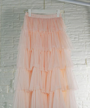 Blush Midi Tulle Skirt Outfit Puffy Tiered Tulle Skirt Blush Pink Holiday Skirt image 4