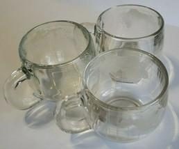 Vintage NESTLE CRYSTAL GLASS GLOBE 3 MUGS Set of 3 Crystal Globe Mugs - $11.47