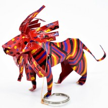 Handcrafted Painted Colorful Recycled Aluminum Tin Can Lion Ornament Zimbabwe image 2