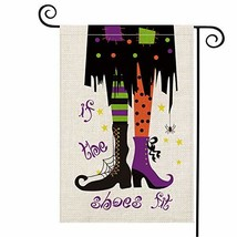 AVOIN If The Shoes Fit Halloween Witch Garden Flag Vertical Double Sized, - $14.22