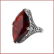 Antique Sterling Silver Prong Set Ruby Red Garnet Oval Cut Gemstone Ring