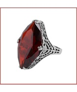Antique Sterling Silver Prong Set Ruby Red Garnet Oval Cut Gemstone Ring - $105.95