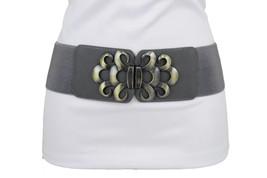 New Women Grey Faux Leather Elastic Wide Fashion Belt Gold Metal Buckle ... - $14.69