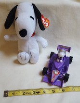 """Peanuts Snoopy Racer #4 - 5 Inch Plastic Race Car 2001 + 8"""" Snoopy Ty doll 2011 - $21.87"""