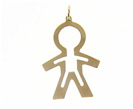 18K YELLOW GOLD LUSTER PENDANT WITH BOY CHILD PERFORATED MADE IN ITALY 1.25 INCH image 1