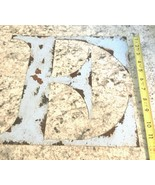 """METAL LETTER 12"""" VTG rusty aged look name initials Letters blue Wall """"E"""" - $15.79"""