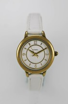 Fossil Womens Watch Stainless Steel Gold 30m White Leather Battery Silver Quartz - £25.58 GBP