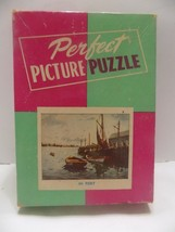"""Vintage Puzzle Perfect Picture """"IN PORT""""  Ships, Dock, Ocean COMPLETE  F... - $16.60"""