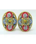 "Vintage Micro Mosaic Italian Glass Floral Clip On Earrings Unsigned 3/4"" - $38.00"