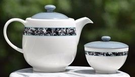 Lot 2 Portmeirion Novella Deco Dream Teapot Sugar Bowl 548558 Black Grey... - $18.93