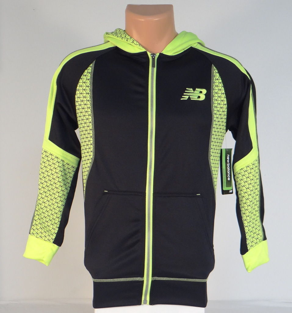Primary image for New Balance Black & Lime Zip Front Hooded Track Jacket Hoodie Youth Boys NWT